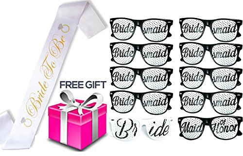 Bachlorette4Ever Bachelorette Party Set - Includes 10 Sunglasses, 1
