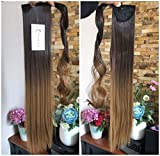 22 Inches Long Straight Ombre Wrap Around Ponytail Synthetic Clip in Hair Extensions