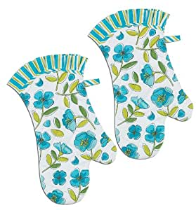 Kay Dee Designs Oven Mitts, Blue Floral, Set of 2