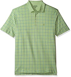 IZOD Men's Interlock Short Sleeve Windowpane Polo Shirt, Bright White, X-Large