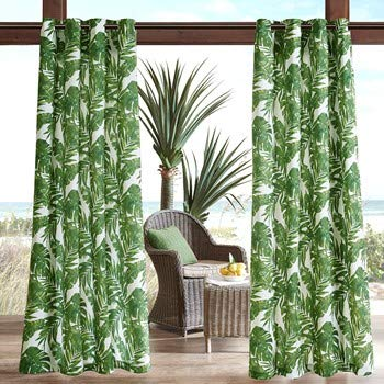Madison Park Green Curtains for Door, Casual Light Window Curtain for Outdoor, Everett Botanical Fabric Window Curtains, 54X84, 1-Panel - Curtain Green Outdoor