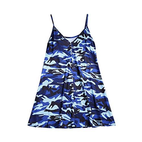 VLDO Top for Women's Summer Sexy Sleeveless V Neck Blouse Vest Blue ()