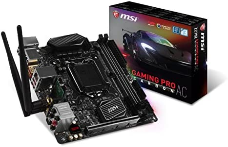 MSI Performance Gaming Intel Z270 DDR4 HDMI USB 3 mini-ITX Motherboard (Z270I GAMING PRO CARBON AC)