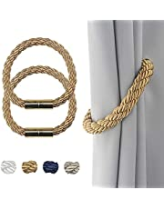 Curtain Ties Magnetic Tiebacks 2 Pack Strong Beige Decorative for Thin or Thick Window Draperies with Metal Hooks Slightly Heavy Rope Holdbacks 19.7in Convenient Ties Backs.
