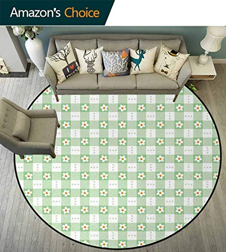 (Abstract Art Deco Pattern Non-Slip Washable Round Area Rug,Daisy Chamomile Petals Textured Striped Background Picnic Kitchen Spring Image Foam Mat Living Room Decor Diameter-39 Inch,Mint Green)