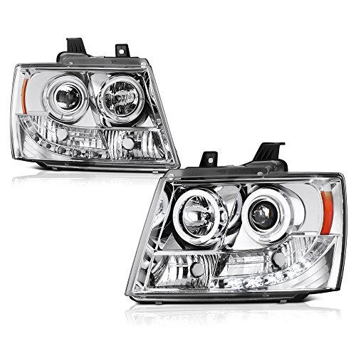 [For 2007-2014 Chevy Avalanche Tahoe Suburban 1500 2500] LED Halo Ring Chrome Projector Headlight Headlamp Assembly, Driver & Passenger Side