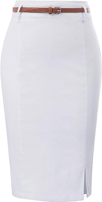 Kaister Plage Jupe Crayon Taille Haute Jupe de Bureau Fendue pour Femme