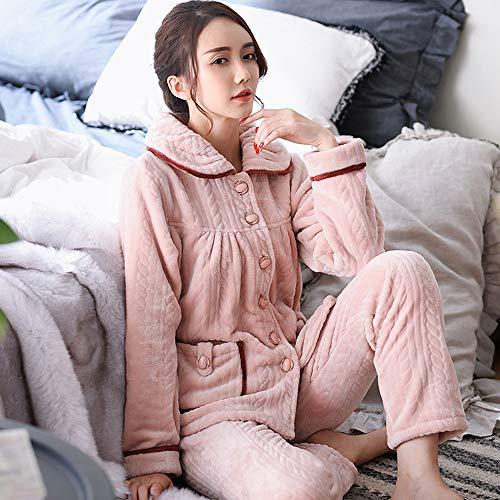Pantalones Pijama 2 Co A Mujer Coral V1 Invierno Domicilio Para 8 Clothing Gran Larga Manga Piezas De Traje Pijama Terciopelo Franela Servicio IHx5Owax