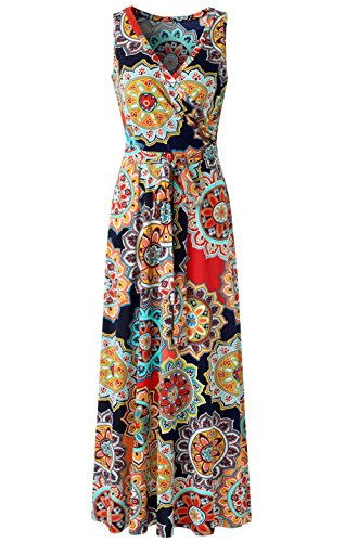 (Zattcas Womens Bohemian Printed Wrap Bodice Sleeveless Crossover Maxi Dress,Orange Multi,Medium)