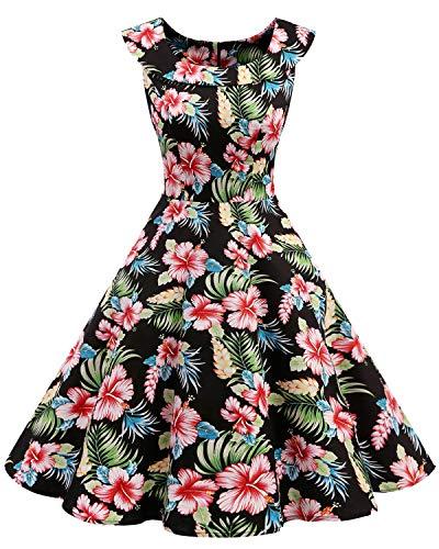 Fiesta Vestidos Retro Cóctel 1950 Bbonlinedress Flower Mujer De Rockabilly Vintage Estilo Black wzgc1Tpxq