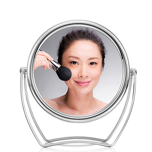 OMIRO TRAVEL VANITY MIRROR - 5 Inch Double-sided 1X/7X Magnification Swivel Makeup Mirror with 360° pivot Stands, Chrome Finish