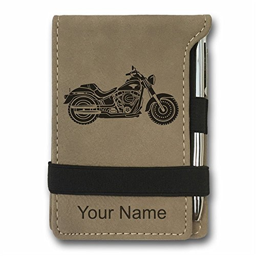 Mini Pocket Notepad - Motorcycle - Personalized Engraving Included (Light - Engraving Custom Motorcycle