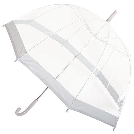 Drizzles Paraguas de cúpula transparente para mujer, borde de varios colores