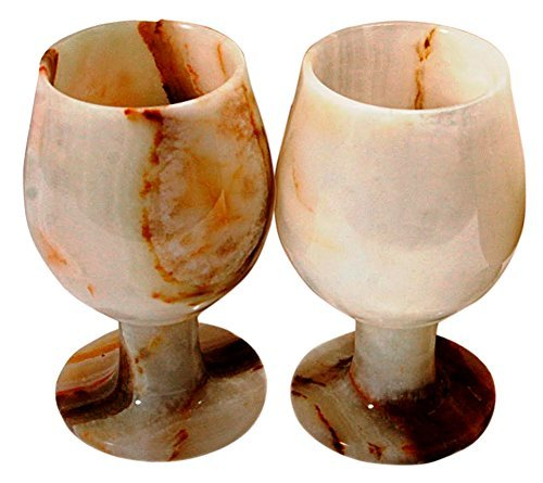 RADICALn Marble Wine Glasses 5.4 Oz 5 x 3 inches - Set of 2 Wine Glasses (White Onyx)