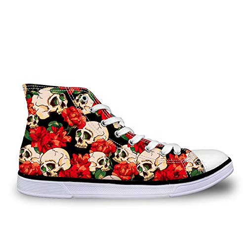 - Bigcardesigns High Tops Canvas Shoes Rose Skull Print Lace-up Plimsolls Comfortable Breathable Walking Sneakers Red Size 6 B(M) Women-EUR 36