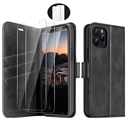 iPhone 12 Pro Max 5G Wallet Case, [2 Glass Screen Protectors Included], PU Leather Cover, Full Body Heavy Duty Protection Shockproof Case, RFID Blocking, Phone Case for iPhone 12 (6.7 Inch), Black