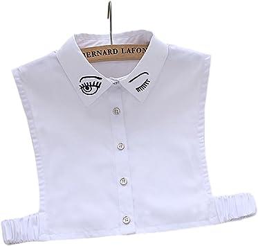 Cuello de camisa falso desmontable para mujer, color blanco: Amazon.es: Belleza