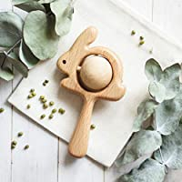 Organic Wooden Bunny Rattle with Peas - Baby Shower Gift - Traditional Rattle Toy - Easter gifts for baby