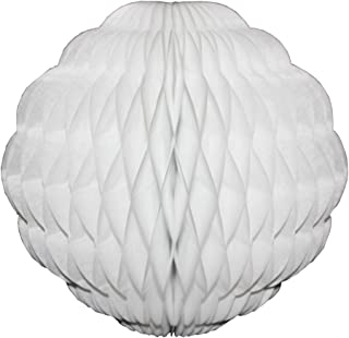 product image for 3-Pack 8 Inch Honeycomb Scalloped Tissue Ball Party Decoration (White)