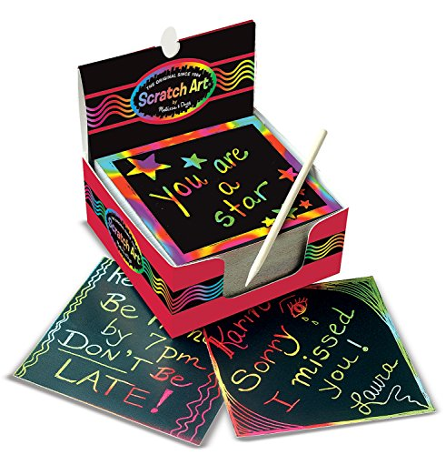 Melissa & Doug Scratch Art Rainbow Mini Notes (125 ct) With Wooden - Cool Wooden Stuff