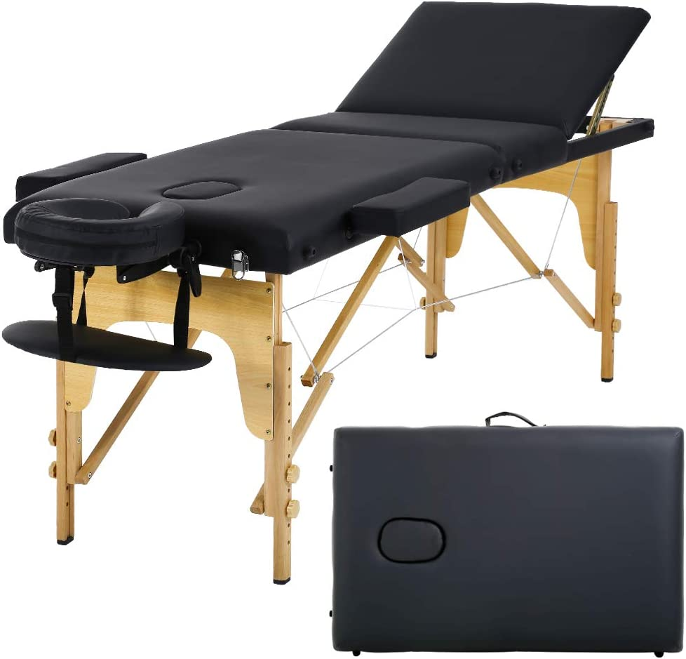 Massage Table Massage Bed Spa Bed 73 Portable Heigh Adjustable 3 Folding Massage Table Salon Bed w Carry Case