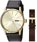 Nixon Mens Sentry Pack Japanese Quartz Leather Watches All Gold/Black/Brown A1138