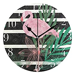 FunnyCustom Round Wall Clock Flamingo Leave Acrylic Creative Decorative for Living Room/Kitchen/Bedroom/Family