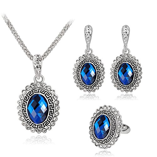 ZINSBEDI Vintage Blue Resin Crystal Pendant Necklace and Earrings Ring Jewelry Set - Vintage Blue Resin