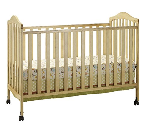 Big Oshi Emily 2-In-1 Convertible Crib Frame - Modern, Unisex Wood Design for Boys or Girls - Low to Ground Design - Converts to Crib or Day Bed Style Toddler Bed - Includes Needed Hardware, Natural