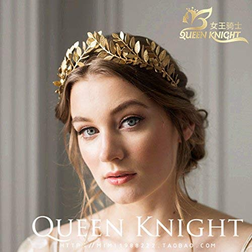 European and American Style Aesthetic Retro Handmade Olive Laurel Leaves Golden Hoop Crown Tiara Tiara Headdress Bride Photo Forest Deparent Wedding Party