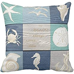 Beach Good Idea Blue Aqua Old Wood Sea Pillowcases Personalized 16x16 Inch Square Cotton Throw Pillow Cover Twin Sides