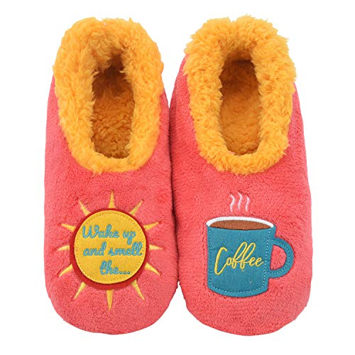 Snoozies Womens Classic Splitz Applique Slipper Socks | Wake Up and Smell The Coffee | - House Applique