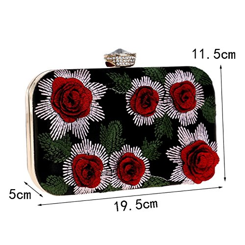 Flower Evening Ladies Beaded Banquet Bag Clutch XS Evening New Red Color Bag Silver Size qC50C