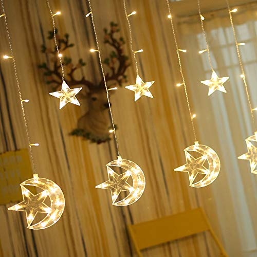 Twinkle Star 138 LED Star Moon Curtain String Lights,Window Curtain Lights with 8 Flashing Modes Decoration Christmas Wedding,Party,Home,Patio Lawn,Warm White -