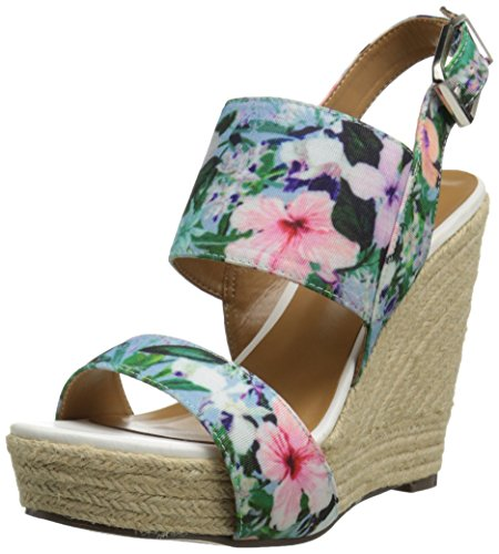 Report Signature Women's Cass Wedge Sandal, Blue Floral, 9 M ()