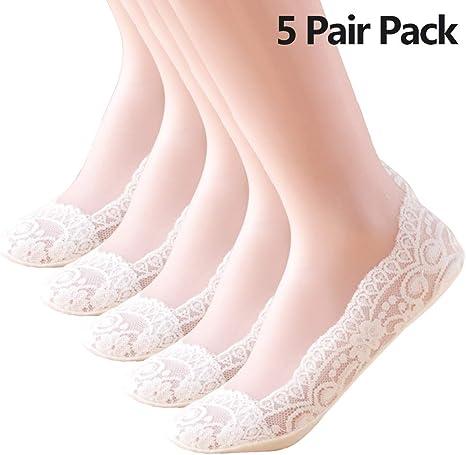 FYJTL 5 Pares Calcetines Invisibles Mujer Malla de Aliento Cortos Nylon Algodón Calcetines, Calcetines Antideslizantes Mujer/White: Amazon.es: Deportes y aire libre