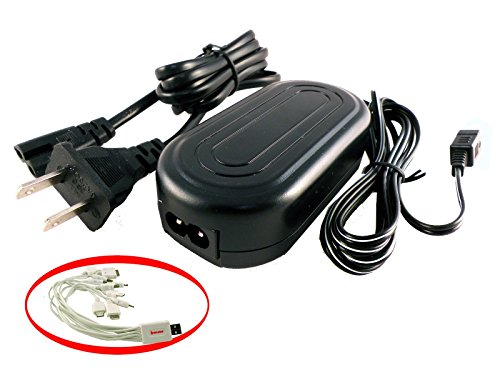iTEKIRO AC Adapter Power Supply Cord for JVC GZ-MG980S GZ-MS110 GZ-MS110AA GZ-MS110AG GZ-MS110AS GZ-MS110B GZ-MS110BEK GZ-MS110BEU GZ-MS110BU GZ-MS110BUC Video Cameras Camcorders + iTEKIRO 10-in-1 USB Charging Cable