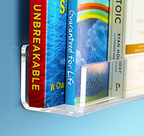UNBREAKABLE Acrylic Kids Floating Bookshelf 16 inch. 6mm 1/4 inch thick. 3 Lengths available: 16/26/38 Inch WALL MOUNTED FLOATING SHELF; Magically displaying storage books. Gift boxed. Hardware incl