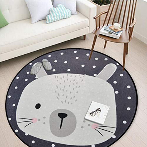 (White Grey Cartoon Animals Bear Fox Panda Round for Living Room Bedroom Home Decor Carpet Rug Children Kids Soft Play Mat)
