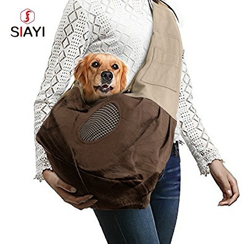 SIAYI Pet Sling Carrier Hands Free Adjustable Single Shoulder Bag Outdoor Travel Pouch and Tote Machine Washable with Extra Pocket, Ventilation Mesh & Safety Leash for Dogs Cats Up to 9 Ib