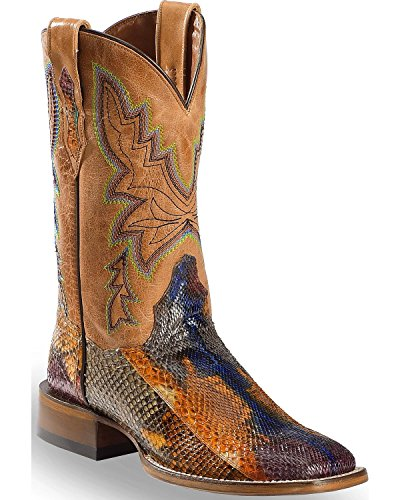 Dan Post Women's Painted Belly Python Stockman Cowgirl Boot Square Toe Multi 8 M