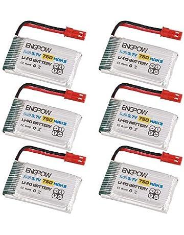Peanutaso 6PCS Engpow 3.7V 750mAh 1S Bater/ía Recargable de lipo JST Conector de Enchufe para Syma X5C MJX X200 Heliway905 RC Drone Quadcopter