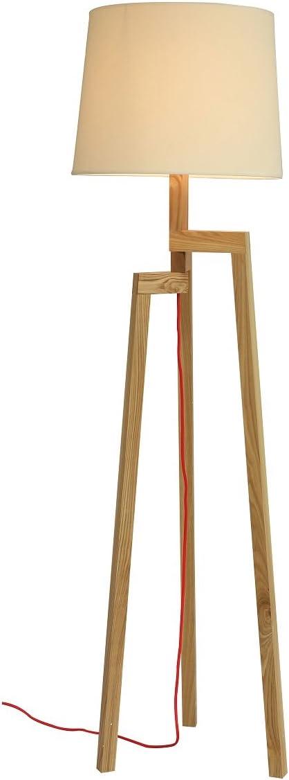 Lámpara de pie de diseño en madera y tulipa, color Beige, diseño de naturaleza: Amazon.es: Iluminación