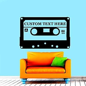 Adhesivos de pared antiguo Audio casete música texto personalizado Vinilo Adhesivo Adhesivo decoración del hogar dormitorio Interior ventana adhesivos ...