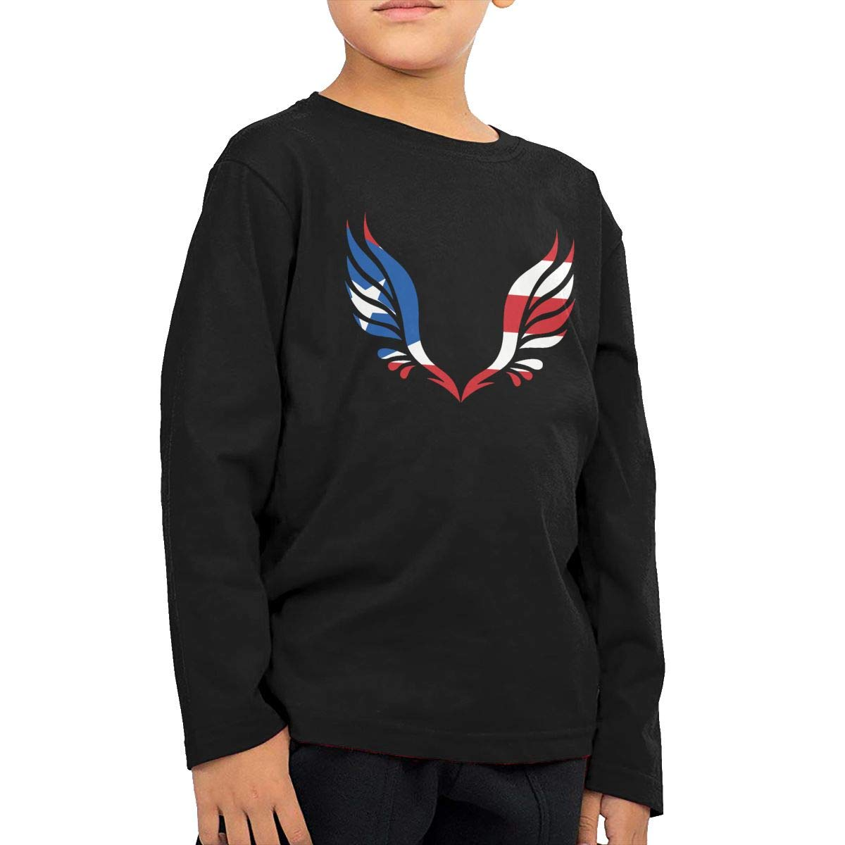 Baby Girls Little Boys Puerto Rico Flag Wing ComfortSoft Long Sleeve T-Shirt