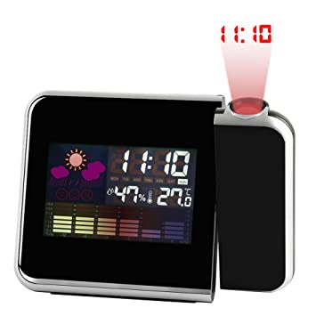 bqmqolove Creative Snooze Alarm Clock HD LCD Temperatura del Tiempo Fecha Noche Luz Pantalla Proyección Reloj de Alarma Despertador (Black)
