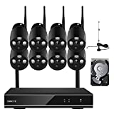 ONWOTE 1080P HD 8 Channel Wireless WiFi Security Camera System with 2TB Hard Drive and 8 Indoor/ Outdoor IR Night Vision 1.3 Megapixel IP Network WiFi Surveillance Cameras (Built-in Router, P2P ) For Sale