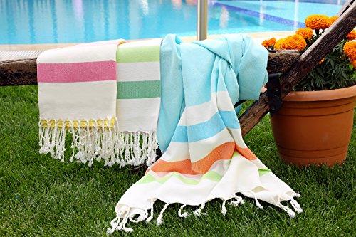 LaModaHome (SET OF 3) Colorful Cabana Striped Turkish Cotton Bath Beach Hammam Towel Peshtemal Blanket, Random Color
