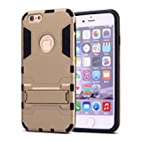 iPhone 6 Plus Case,iPhone 6s Plus case,Ebakx [Ironman Kickstand] Heavy Duty Hybrid Dual Layer Armor Defender Full Body Protective Case Cover for Apple iPhone 6s/iPhone 6 Plus case, (Silver) (Golden)