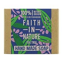 Faith in Nature Jabón de Manos Natural de Árbol del Té, Purificante, Vegano y No Testado en Animales, sin Parabenos ni SLS, 100 g